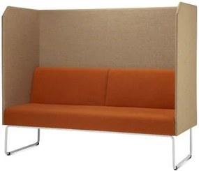 Sofa Privativo Pix com Divisoria Crepe Marrom Claro e Assento Crepe Laranja Base Aco Branco - 55088 Sun House