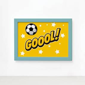 Quadro Infantil Futebol Gol Amarelo 22x32 Moldura Azul