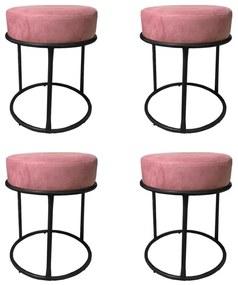 Kit 4 Puffs Decorativos Redondos Luxe Base de Aço Preta Suede Rosê - Sheep Estofados - Rosa