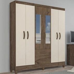 Guarda-Roupa Solteiro Real 6 Portas 2 Gavetas com Espelho Mocaccino Rústico/Natura Off White - Atualle Móveis