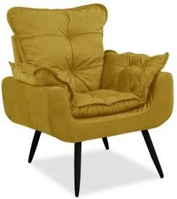 Poltrona Decorativa Pés Palito 1 lugar Ana Julia - Amarelo suede