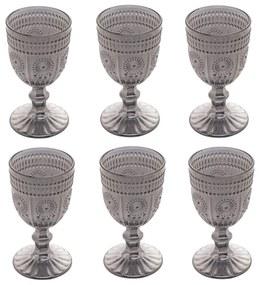 Jogo Taças Para Vinho 6 Peças Vidro Aubusson Cinza 240m 28238 Bon Gourmet
