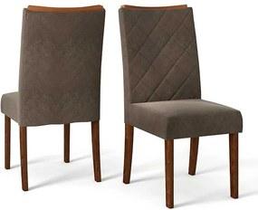 Conjunto 2 Cadeiras Sara Rústico Malbec Tecido Pena Marrom