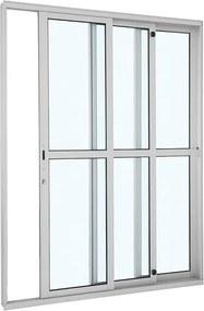 Porta de Alumínio de Correr Alumifort Branca com Divisão Central 3 Folhas Abertura Direita 216x160x12,5 - Sasazaki - Sasazaki