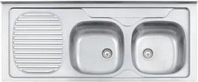 Pia de Apoio Tramontina Stratta 2C 34 FX DX em Aço Inox 120x50 cm com 2 Cubas