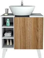 Balcão Gabinete Para Banheiro 60cm Slim BAC 5000 Branco/Castanho - App
