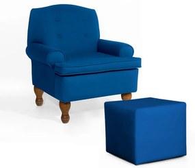 Conjunto Poltrona Vovó Lucy Decorativa + Puff Ana Suede Azul Royal