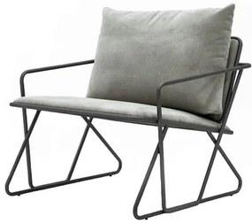 Poltrona Industrial Vaz Assento Estofado Cinza com Base Aco cor Grafite - 47776 Sun House