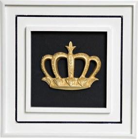 Quadro Príncipe Corôa G Quarto Bebê Infantil Menino Potinho de Mel Dourado