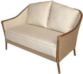 Sofa Parma 2 Lugares Assento cor Bege com Estrutura Madeira Apui - 44780 Sun House