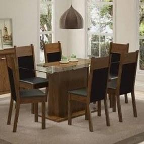 Conjunto Sala de Jantar Madesa Atlanta Mesa Tampo de Vidro com 6 Cadeiras Rustic/Preto/Sintético Preto Cor:Rustic/Preto/Sintético Preto