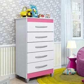 Cômoda Infantil Esmeralda com 5 Gavetas - Branco/Rosa