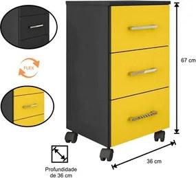 Mesa Para Computador Gávea com Gaveteiro Pietra Preto/Amarelo - Móveis Leão