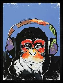 Quadro Monkey Music Roxo