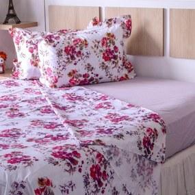 Jogo de Cama Casal 200 Fios Top Confort Flores Fundo Lilás