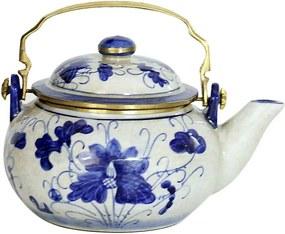 Bule Decorativo em Porcelana Bojudo Florido Azul e Branco