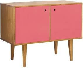 Buffet 2 Portas Vintage Rosa Laqueado Fosco e Estrutura Madeira Maciça