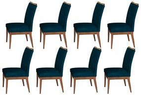 Conjunto 8 Cadeira Decorativa Leticia Veludo Azul Marinho