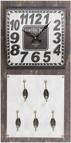 Relógio de Parede Vintage com 5 Ganchos