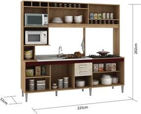 Cozinha Compacta Helen S/Tampo Carvalho/Blanche/Bordô Fellicci Móveis