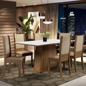 Conjunto Sala de Jantar Madesa Adriana Mesa Tampo de Madeira com 6 Cadeiras Cor:Rustic/Branco/Sintético Bege