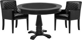Mesa de Jogos Carteado Redonda Victoria Tampo Reversível Preto com 2 Cadeiras Liverpool Corino Preto Matelassê - Gran Belo