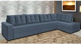 Sofá de Canto Cama InBox Nairóbi 2,75mx1,75m com Chaise Tecido Suede Velusoft Azul