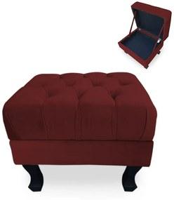 Puff Baú Decorativo Capitonê Luis XV 50x40cm Suede Bordô - Sheep Estofados - Vermelho escuro