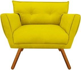Poltrona Decorativa Anitta Suede Amarelo - D'Rossi