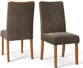 Conjunto 2 Cadeiras Sara Rústico Terrara Tecido Pena Marrom