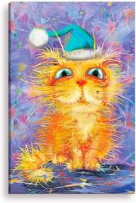 Tela Decorativa Estilo Pintura Gatinho de Toca - Tamanho: 90x60cm (A-L) Unico
