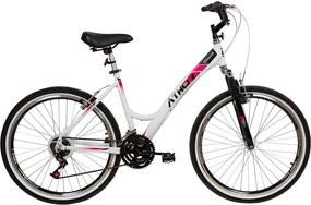 Bicicleta Aro 26 Feminina Top One 18V Aluminio Branca C/ Suspensao Athor Bike