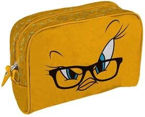 Necessaire Looney Tunes Tweety Big Face Amarela em PU - Urban