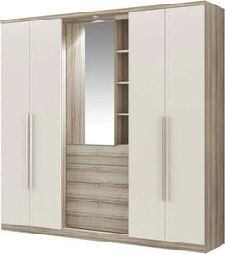 Guarda-Roupa 4 Portas 4 Gavetas com Espelho Zeus Anis Camurça Móveis Carraro Bege