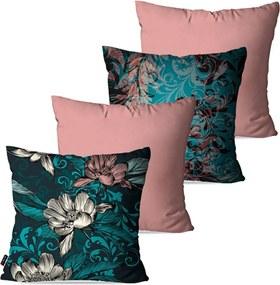 Kit com 4 Almofadas Pump UP Decorativas Rosa Flores 45x45cm