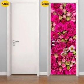Adesivo De Porta Rosas E Botões (0,80m x 2,10m)