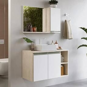 Gabinete Balcão Para Banheiro Suspenso Galla 80cm Com Cuba