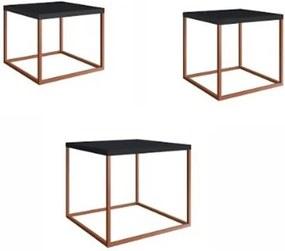 Conjunto Mesas Cube Preto Estrutura Cobre 38cm - 59310 Sun House
