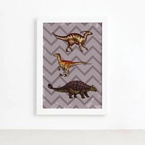 Quadro Infantil Dinossauro Roxo Moldura Branca 22x32