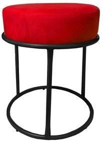 Puff Redondo Decorativo Luxe Base de Aço Preta Suede Vermelho - Sheep Estofados - Vermelho