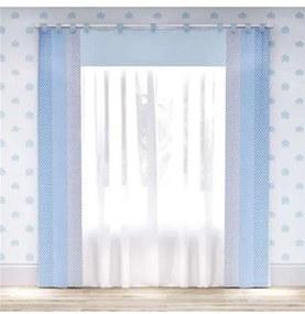 Cortina Quarto Bebê Menino Azul Poá 2.30m Grão de