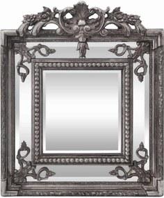 Espelho Quadrado Moldura em Resina Acabamento em Prata