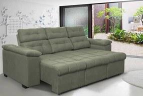 Sofa Columbia 2,40 Mts Retrátil E Reclinavel Tecido Suede Cinza