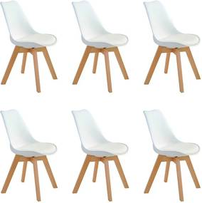 Kit 6 Cadeiras Decorativas Sala e Escritório SelfCare (PP) Branca- Gran Belo
