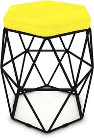 Puff Aramado Hexagonal Base de Ferro Preta Suede Amarelo - Sheep Estofados - Amarelo