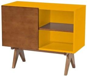 Adega Massimo Laqueada cor Amarelo Fosco com Porta Laminada cor Nogal 91 cm (LARG) - 46280 Sun House