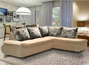 Sofá de Canto 8 Lugares Vilagio 270x196 Pillow com Almofadas Veludo Bege - MegaSul