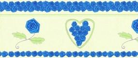 Faixa De Parede Rosas E Coração Azul E Verde - Kawayi - Importado Lavá...