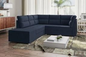 Sofá De Canto Layon 1,30 Mts X 1,80 Mts + Puff 0,50cm Tecido Suede Azul Marinho