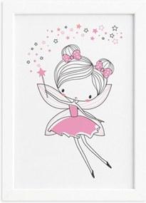 Quadro Quarto de Menina Fada Rosa Moldura Branca 22x32